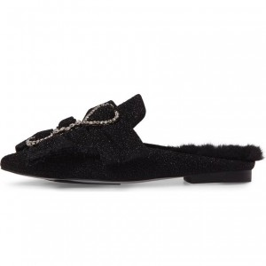 Black Fur Bow Rhinestone Loafer Mules