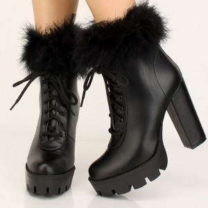 Black Fur Lace Up Boots Platform Chunky Heel Ankle Boots
