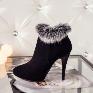 Black Furry Stiletto Heel Ankle Booties