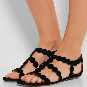 Black Geometry Circle Suede Summer Sandals Open Toe Comfortable Flats