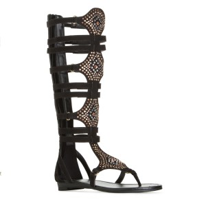 Lelia Black Knee High Gladiator Sandals Rhinestone Strappy Sandals
