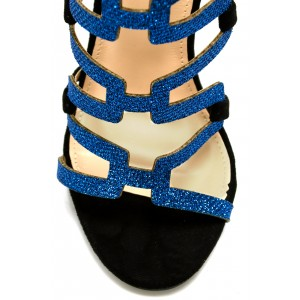 Black Gladiator Sandals Blue Glitter Open Toe Stiletto Heels Sandals