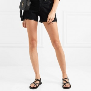 Black Gladiator Sandals Open Toe Flats Slingback Sandals