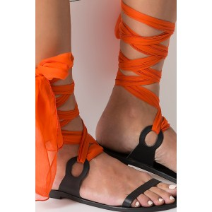 Black Gladiator Sandals Open Toe Orange Scarves Strappy Sandals