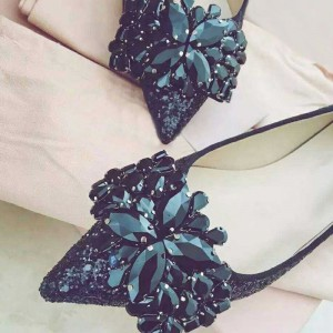 Black Glitter Shoes Rhinestone Pointy Toe Flats
