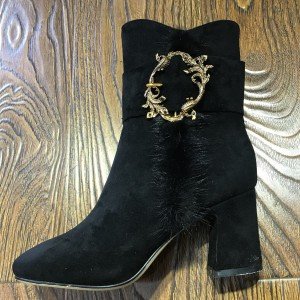 Black Gold Bird Decorated Furry Block Heel Ankle Booties
