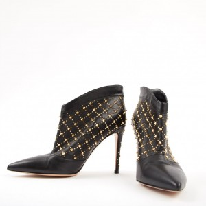 Black Gold Studs Stiletto Heel Ankle Booties