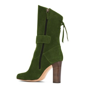 Green Suede Square Toe Boots Back Lace up Chunky Heel Mid Calf Boots