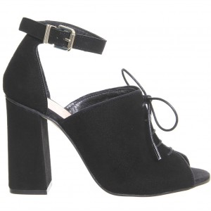 Black Heeled Boots Lace up Ankle Strap Block Heel Peep Toe Ankle Boots