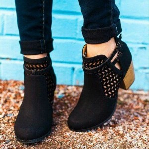 Black Cut Out Boots Round Toe Laser Cut Wooden Block Heel Ankle Boots