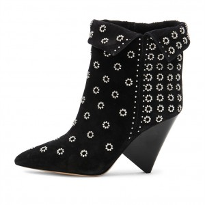 Black Hollow Out Cone Heel Pointy Toe Fashion Boots