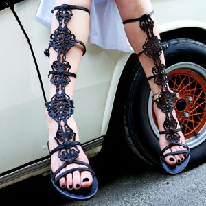Black Hollow Out Gladiator Sandals Flat Calf Length Sandals