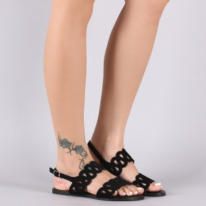 Black Hollow out Open Toe Flats Slingback Summer Sandals