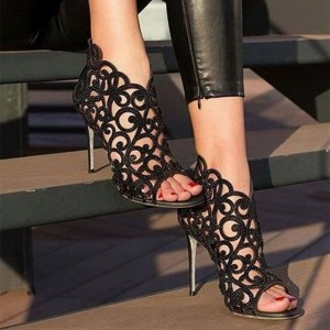 Black Hollow out Rhinestone Summer Boots Peep Toe Caged Sandals