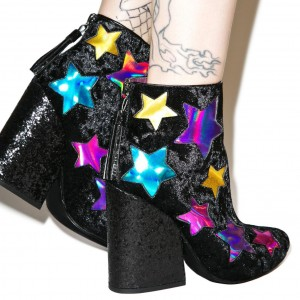 Black Hologram Stars Block Heel Ankle Booties