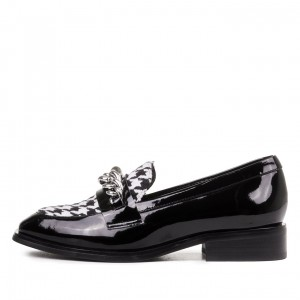 Black Hounds-tooth Loafers for Women Square Toe Shoes with Chains