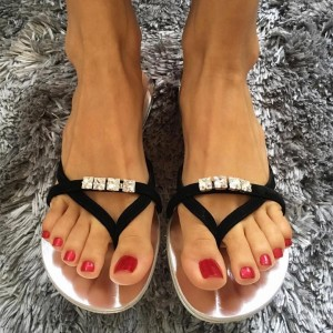 Black Jeweled Beach Sandals Summer Flat Flip Flops US Size 3-15