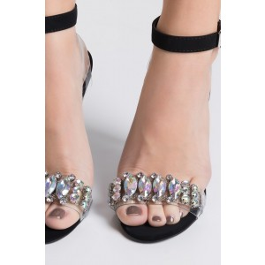 Black PVC Clear Sandals Open Toe Stiletto Heels Jeweled Sandals