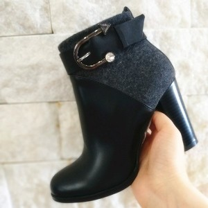 Black Joint Buckle Chunky Heel Ankle Booties