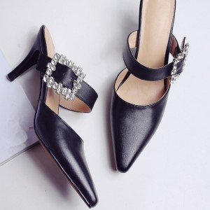 Black Kitten Heels Pointy Toe Heeled Mules with Rhinestone Buckle