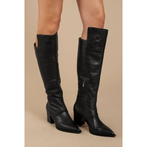 Black Knee High Chunky Heel Boots Vegan Fashion Long Boots