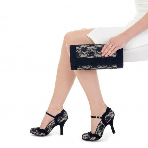 Black Lace Curvy Spool Heel Mary Jane Pumps