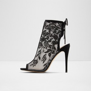 Black Lace Floral Peep Toe Booties Stiletto Heel Ankle Boots