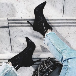 Black Lace Pointy Toe Stiletto Boots Sexy Ankle Booties