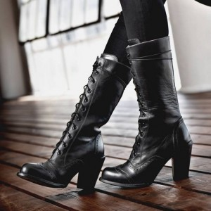 Black Lace Up Boots Chunky Heel Mid Calf Boots
