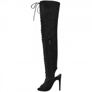 Black Lace up Boots Slingback Peep Toe Over-the-knee Boots