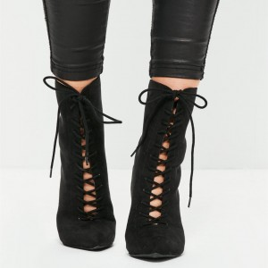 Black Lace up Boots Suede Stiletto Heel Ankle Booties