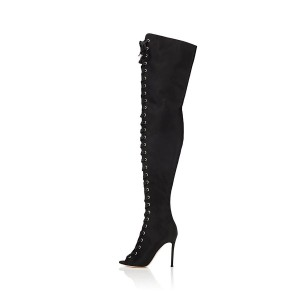 Black Thigh High Lace up Boots Satin Stiletto Heel Long Boots