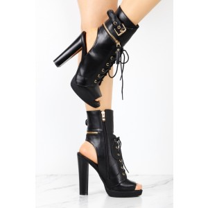 Black Lace Up Boots Vintage Chunky Platform Heels Peep Toe Ankle Boots