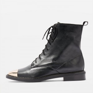 Black Lace Up Boots With Gold Toe