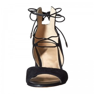 Black Lace up Chunky Heel Sandals Peep Toe Suede Sandals
