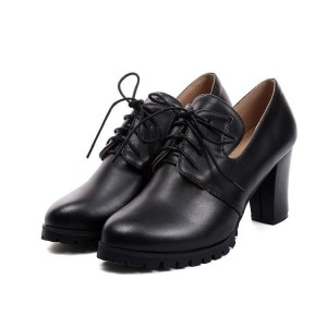 Black Lace up Oxford Heels Round Toe Chunky Heel Vintage Shoes