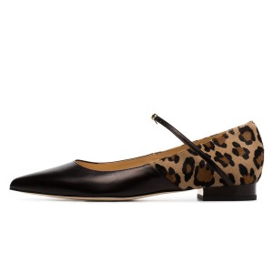 Black Leopard Print Flats Mary Jane Shoes