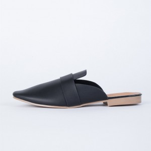 Black Round Toe Loafer Mules Casual Flat Loafers for Women