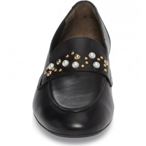 Black Loafers for Women Round Toe Flats with Studs and Studs