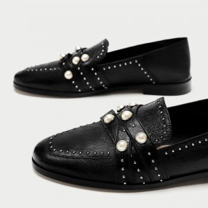 Black Loafers for Women Round Toe Flats with Pearl and Studs