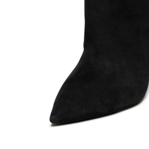 Black long Boots Pointy Toe Cone Heel Over-the-Knee Boots