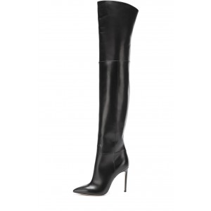 Black long Boots Pointy Toe Stiletto Heels Over-the-Knee Boots