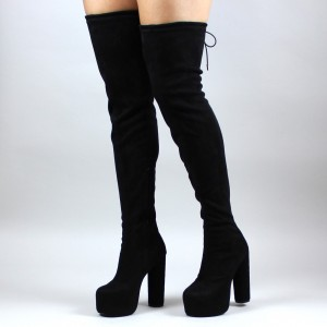 Black Long Boots Suede Thigh-high Platform Boots for Women
