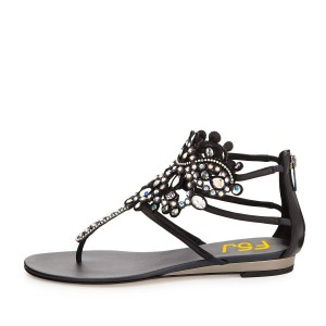 Black Low Heel Jeweled Sandals