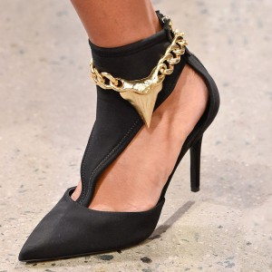 Black Lycra Chain T Strap Pumps Pointed Toe Stiletto Heel Pumps