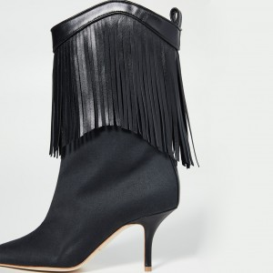 Black Lycra Pointed Toe Stiletto Boots Tassel-Fringe Ankle Boots