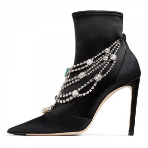 Black Lycra Rhinestones Stiletto Boots Ankle Boots