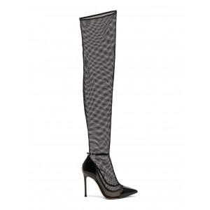 Black Mesh Thigh High Heel Boots Sexy Stiletto Heels Summer Boots