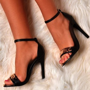 Black Metal Chain Open Toe Stiletto Heels Ankle Strap Sandals
