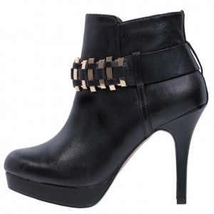 Black Metal Stiletto Heels Platform Ankle Booties